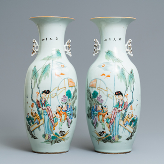 A pair of Chinese famille rose vases with ladies and boys in a garden, 19/20th C.