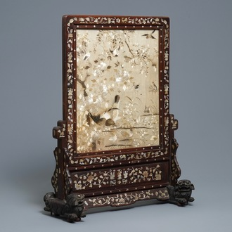 A Chinese mother-of-pearl-inlaid wooden screen with silk embroidery, 19th C.