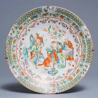 A fine Chinese Canton rose-verte charger, 19th C.