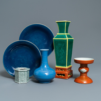 Six Chinese monochrome porcelain wares, 19/20th C.