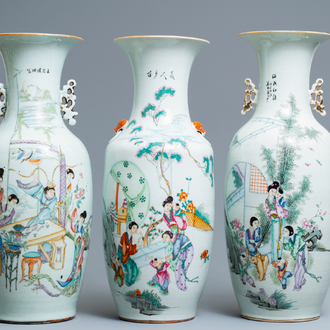 Three Chinese famille rose vases, 19/20th C.