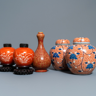 Two pairs of Chinese coral-ground jars and a flambé-glazed bottle vase, 19/20th C.