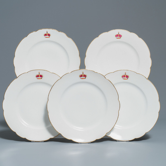 Five French porcelain plates with Russian armorial crowns, Haviland Limoges for Maison Toy, Paris, 19th C.