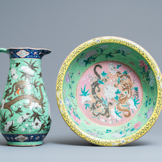 A large Chinese lime green-ground famille rose ewer and basin with dragons, 19th C.