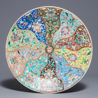 A large Chinese famille rose dish, Qianlong mark, 19th C.