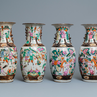 Two pairs of Chinese famille rose Nanking crackle-glazed vases, 19th C.