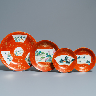 Four Chinese famille rose coral-ground dishes, Qianlong marks, 19th C