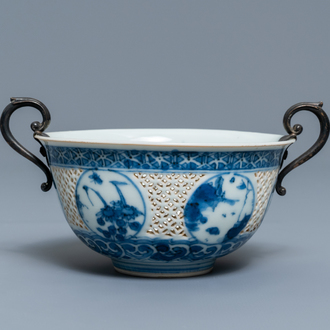 A Chinese silver-mounted blue and white reticulated bowl, Transitional period