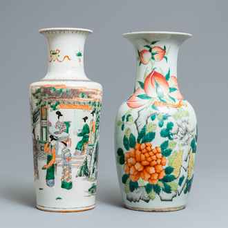 A Chinese famille verte rouleau vase and a famille rose vase, 19th C.