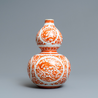 A Chinese iron-red and gilt double gourd 'dragon' vase, Qianlong mark, Republic
