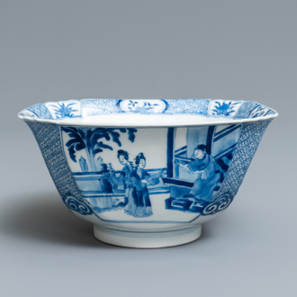 A Chinese blue and white square bowl, Xuande mark, Kangxi