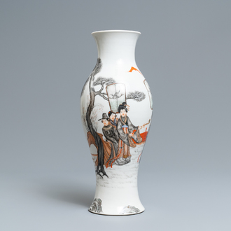 A Chinese grisaille and iron red vase, Ju Ren Tang mark, Republic