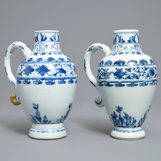 A pair of Chinese blue and white ewers, Transitional period