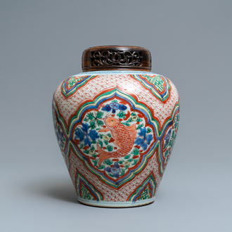 A Chinese wucai vase with fish, Transitional period