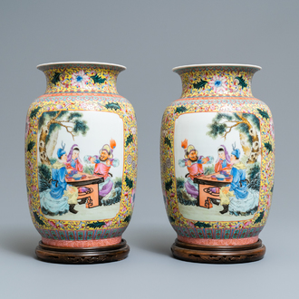 A pair of fine Chinese famille rose vases, Qianlong mark, Republic