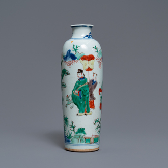 A Chinese wucai rouleau vase with figures in a landscape, Transitional period