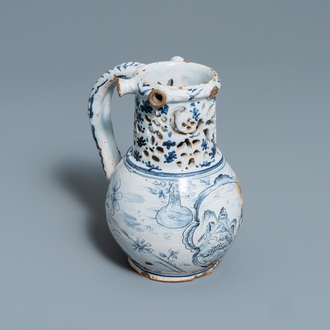 A blue and white Lille faience puzzle jug, 18th C.