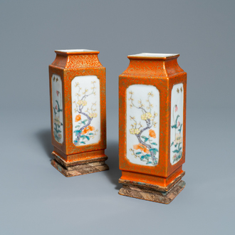 A pair of Chinese square famille rose vases with floral design, Yongzheng mark, Republic