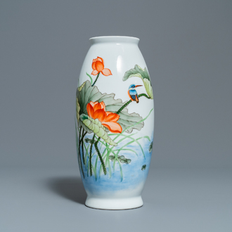 A polychrome Chinese 'kingfisher on lotus flower' vase, Qianlong mark, 20th C.