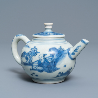 A Chinese blue and white teapot and cover with a figure in a landscape, Hatcher cargo shipwreck, Transitional period