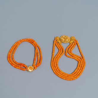 Two red coral necklaces with golden locks, The Netherlands, 19/20th C.