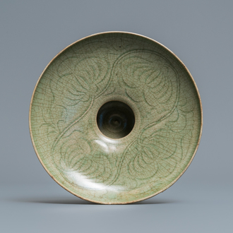 A Chinese Yaozhou celadon bowl with incised floral design, Song or later