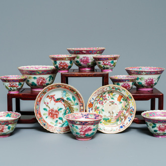 Ten Chinese famille rose bowls and two saucers for the Straits or Peranakan market, 19th C.