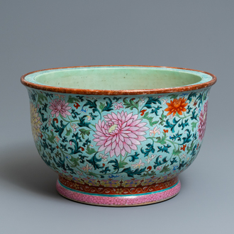 An exceptional Chinese turquoise-ground famille rose jardinière, Qianlong