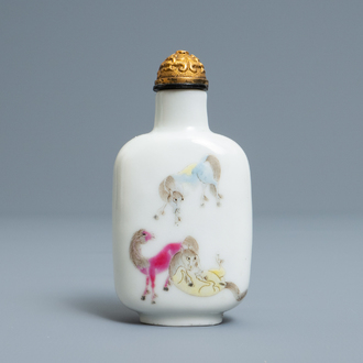 An imperial Chinese famille rose 'Bajuntu' snuff bottle, Daoguang mark and of the period