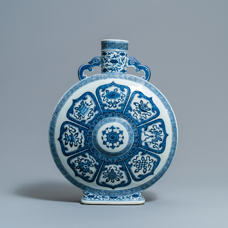A fine Chinese blue and white 'Bajixiang' moon flask vase, Qianlong mark, 19th C.