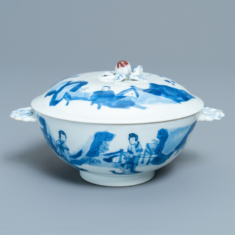 A Chinese blue, white and copper red bowl and cover, Chenghua mark, Kangxi
