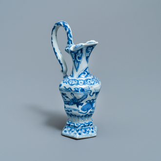 A Chinese blue and white ewer after a European silver example, Kangxi