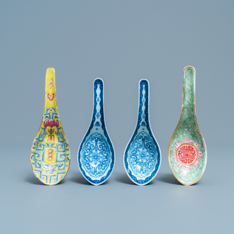 Four Chinese blue and white and famille rose spoons, 19th C.