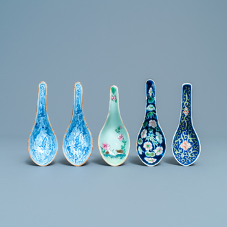 Five Chinese polychrome spoons, 19/20th C.
