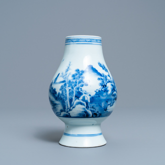 A Chinese blue and white vase with a landscape with figures, Yongzheng mark and of the period