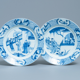 Two Chinese blue and white 'Romance of the Western Chamber' plates, Kangxi