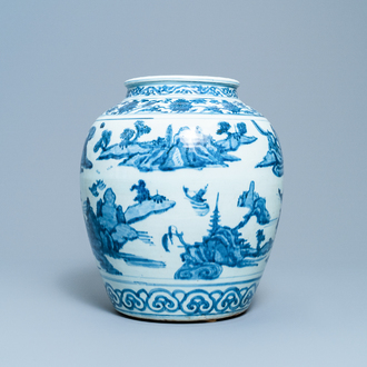 A Chinese blue and white vase with boats in a mountainous landscape, Ming