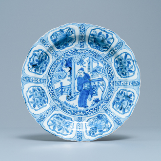 A Chinese blue and white kraak porcelain dish with a scholar, Wanli