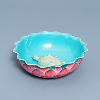 A Chinese famille rose 'lotus' bowl with turtle-shaped flower holder, Qianlong/Jiaqing