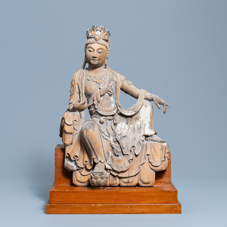 A Chinese painted wooden figure of Guanyin, Ming
