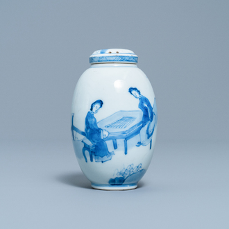 A Chinese blue and white covered tea caddy, Kangxi