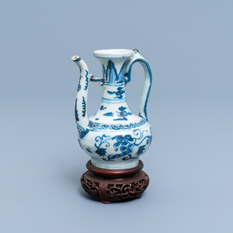 A Chinese blue and white 'grapevine' ewer, Ming