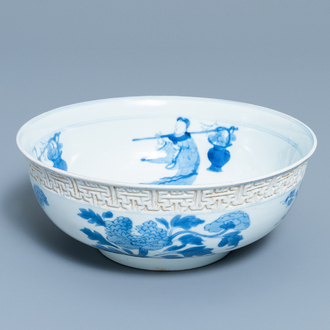 A Chinese blue and white relief-moulded bowl, Kangxi