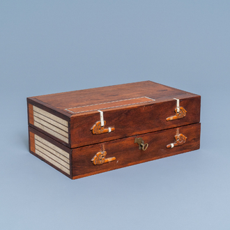 A Chinese wooden box with scholar's objects for a calligrapher or painter, 19th C.
