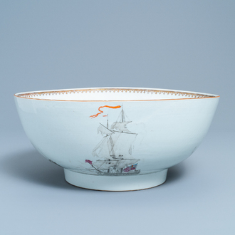 A large Chinese famille rose and grisaille bowl with the naval battle at Cartagena, Qianlong
