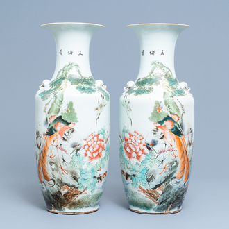 A pair of Chinese qianjiang cai vases with birds among foliage, 19/20th C.