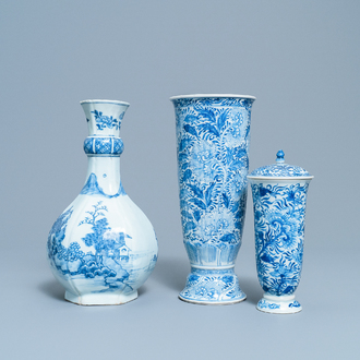 Two Chinese blue and white beaker vases and a bottle vase, Kangxi/Qianlong
