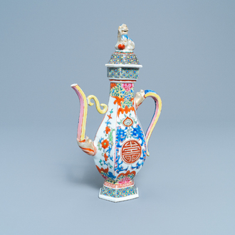 A Chinese famille rose 'Shou' ewer and cover, Qianlong