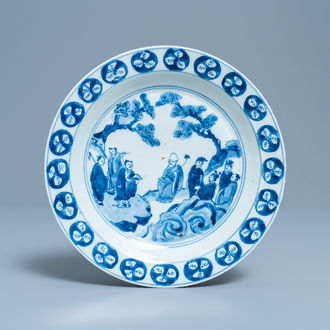 A Chinese blue and white Japanese market ko-sometsuke 'immortals' plate, Tianqi
