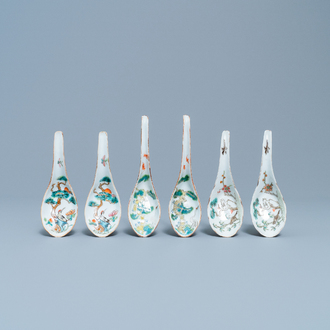 Three pairs of Chinese spoons with herons, 19th C.